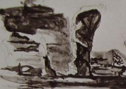 Ce détail d'un dessin de Victor Hugo représente une forme qui surgit de l'enfance, tel un souvenir...