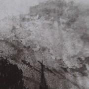 Ce détail d'un dessin de Victor Hugo représente un nuage qui éclate au-dessus d'arbres et de toits, telle une bombe aux Feuillantines.