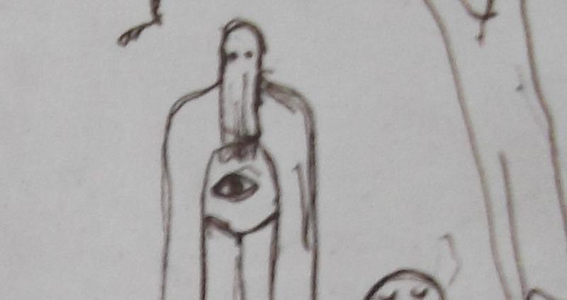 Ce détail d'un dessin de Victor Hugo représente un être couvert d'une cagoule et d'une grande robe avec un œil pectoral ; trois oiseaux volent au-dessus de sa tête. Sur sa gauche, derrière lui, apparaît, près d'un arbre, le soleil, les yeux fermés.
