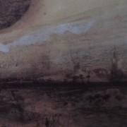 Ce détail d'un dessin de Victor Hugo représente un village dans la brume surmonté sur sa gauche d'une sorte de soleil noir (qui est en fait l'arrondi du chapeau d'un champignon).