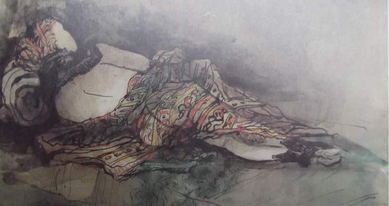 Ce détail d'un dessin de Victor Hugo représente une femme couchée de dos, peut-être captive, sa nudité recouverte d'un étoffe chamarrée.
