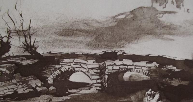 Ce détail d'un dessin de Victor Hugo représente un pont de pierres traversant le lit d'une rivière asséchée. La silhouette d'un château se profile sur l'horizon, à droite.