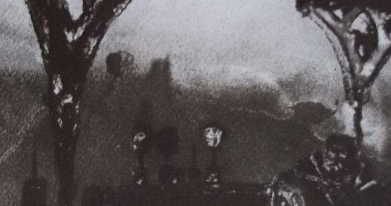 Ce détail d'un dessin de Victor Hugo représente un sultan assis, enveloppé dans sa toge, sous des arcades, où l'on peut apercevoir des têtes empalées et, au loin, derrière, le sommet de deux tours.