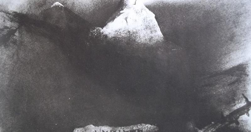Ce détail d'un dessin de Victor Hugo représente le mont Olympe et un autre mont qui se dresse devant lui, immense, sorte de représentation du Satyre.
