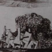 Ce détail d'un dessin de Victor Hugo représente un village féerique, dans l'écrin du pampre de la vigne.