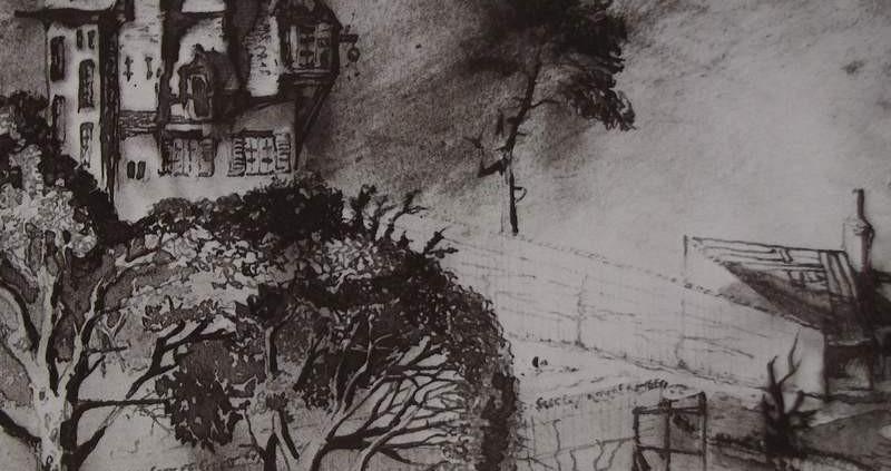 Ce détail d'un dessin de Victor Hugo représente un cimetière entouré d'arbres dans lesquels sont nichés des oiseaux (cachés). Une demeure surmonte cet enclos.
