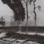 Ce détail d'un dessin de Victor Hugo représente un chemin qui contourne trois arbres près d'un champ. Sur la gauche, on aperçoit un château.