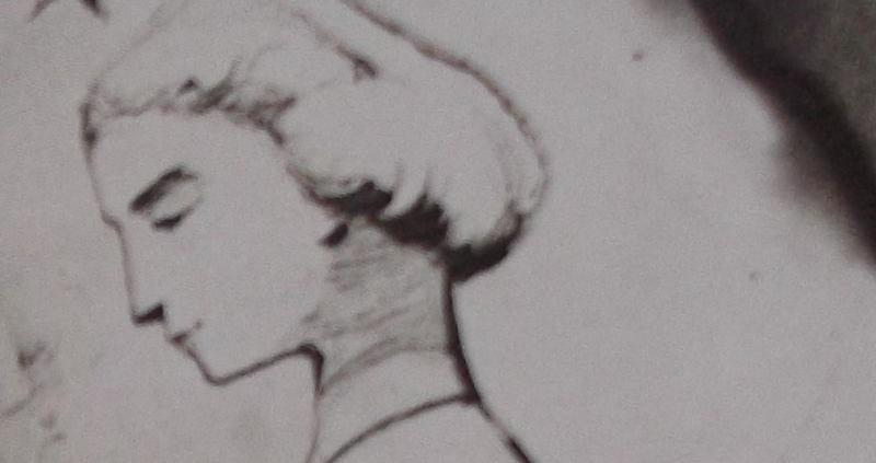 Ce détail d'un dessin de Victor Hugo représente le visage de profil d'une jeune femme (Léopoldine, noyée le 4 septembre 1843, à Villequier) avec une étoile au-dessus de son front.