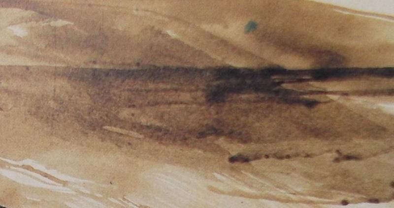 Ce détail d'un dessin de Victor Hugo représente, de façon abstraite, une ligne d'horizon, avec un océan sépia et un ciel de même teinte, qui semblent dire : Pas de représailles.