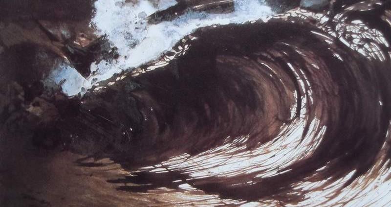 Ce détail d'un dessin de Victor Hugo représente une vague de l'océan, onde d'énergie bousculant tout sur son passage. On peut lire en bas « Hugo MA DESTINÉE ».