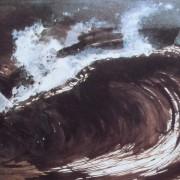 Ce détail d'un dessin de Victor Hugo représente une grosse vague de l'océan, onde d'énergie bousculant tout sur son passage. Des voiles d'écume la surmonte.
