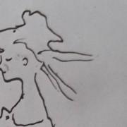 Ce détail d'un dessin de Victor Hugo représente la tête rougissante d'une jeune femme aux joues roses.
