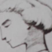 Ce détail d'un dessin de Victor Hugo représente, en gros plan, légèrement flouté, le visage de Léopoldine, sa fille, disparue noyée le 4 septembre 1843, à Villequier.