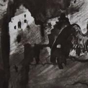 Ce détail d'un dessin de Victor Hugo représente un chouette qui louche, étendant une aile, devant une ruine à la façade délabrée. Deux cavaliers, que l'on ne voit pas, passent dans la forêt.