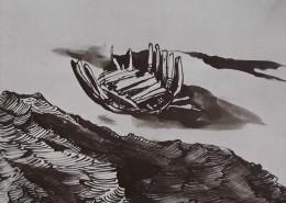 Ce détail d'un dessin de Victor Hugo représente une épave, celle d'un bateau, échouée sur la grève, auprès des flots, juste devant les dunes.