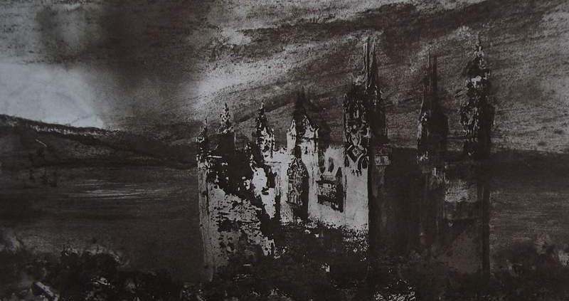 Ce détail d'un dessin de Victor Hugo représente un château au pied duquel s'étendent des ruines. Il est surmonté d'un ciel sombre, dans lequel menace une tornade.