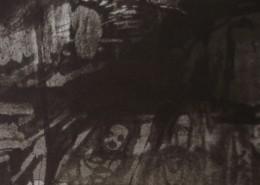 Ce détail d'un dessin de Victor Hugo représente l'intérieur de l'enfer (de Dante ?). On aperçoit, en haut à gauche, une ouverture et, en bas à droite, des corps allongés.