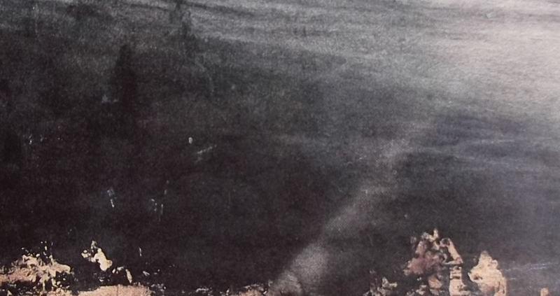 Ce détail d'un dessin de Victor Hugo représente un rayon qui illumine le chemin qui mène à la porte du tombeau.
