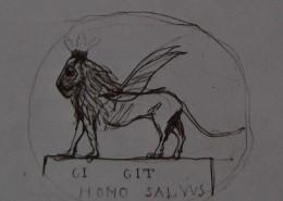 """Ce détail d'un dessin de Victor Hugo représente un lion ailé sur une stèle portant l'inscription """"CI GIT HOMO SALVUS""""."""