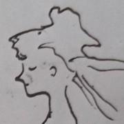 Ce détail d'un dessin de Victor Hugo représente le profil d'une jeune femme rougissante, les cheveux au vent.