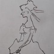 Ce détail d'un dessin de Victor Hugo représente une jeune femme à la taille frêle et souple comme le roseau.