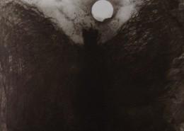Ce détail d'un dessin de Victor Hugo représente un archange, attristé, un passant des cieux.