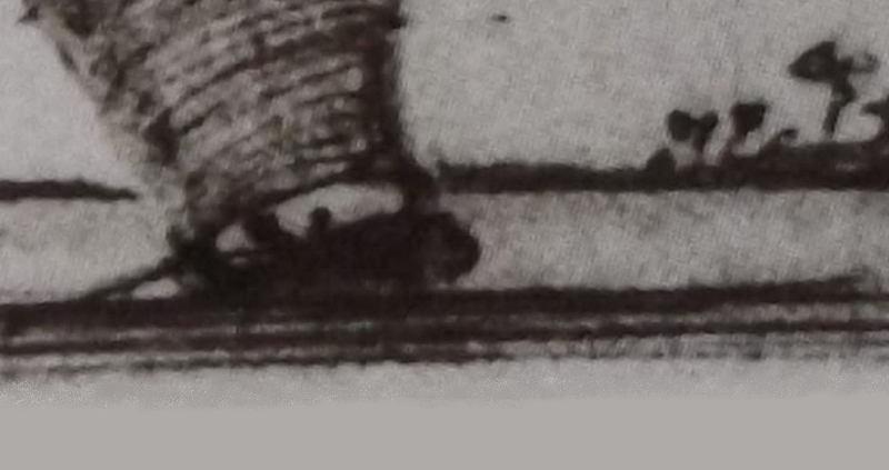 Ce détail d'un dessin de Victor Hugo représente une barque à voile naviguant sur un fleuve.