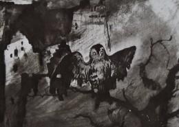 Ce détail d'un dessin de Victor Hugo représente un chouette qui louche, étendant ses ailes, sur un arbre mort, devant une ruine ou une habitation délabrée. Saturne est cachée dans le ciel.