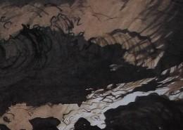 Ce détail d'un dessin de Victor Hugo représente «la vaste aventure des flots», opposant l'ombre des profondeurs à la blancheur de l'écume.