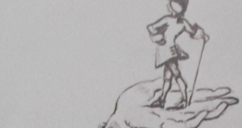 Ce détail d'un dessin de Victor Hugo représente un homme debout sur une main, bicorne sur la tête et canne à la main.
