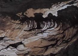 Ce détail d'un dessin de Victor Hugo représente les flots en furie, et une vague déferlante.