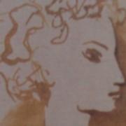Ce détail d'un dessin de Victor Hugo représente le visage flou, de profil, d'une innocente jeune femme.