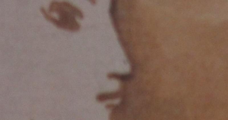 Ce détail d'un dessin de Victor Hugo représente les yeux, le nez, la bouche et le menton d'un visage flou, vu de profil, d'une jeune femme innocente.