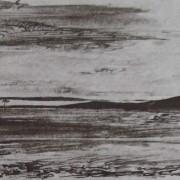 Ce détail d'un dessin de Victor Hugo représente un paysage d'orient, avec une vaste étendue, quelques collines et deux arbres.
