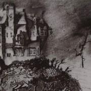 """Ce détail d'un dessin de Victor Hugo représente une maison """"petite avec des fleurs"""", perchée sur une colline et entourée d'arbres."""