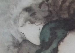 Ce détail d'un dessin de Victor Hugo représente le visage d'une jeune fille regardant vers le bas, les cheveux volant dans le vent.