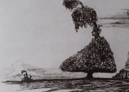 Ce détail d'un dessin de Victor Hugo représente un arbre qui ploie sous le vent dans la plaine.