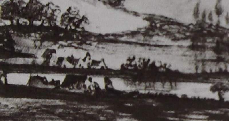Ce détail d'un dessin de Victor Hugo représente un paysage champêtre et bucolique. Une rivière offre sa fraîcheur aux maisons qui la bordent. Des collines croisent leurs pentes, au loin.