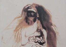 Ce détail d'un dessin de Victor Hugo représente le buste d'une femme ayant de grands cheveux et portant un masque.
