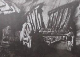 """Ce détail d'un dessin de Victor Hugo représente """"une grosse charrette, au coin de ma maison (...)"""" (dixit V.H. dans ce poème)."""