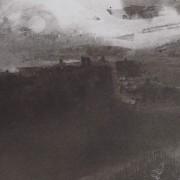 Ce détail d'un dessin de Victor Hugo représente une vue de Paris, avec avec la lueur du couchant.