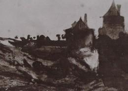 """Ce détail d'un dessin de Victor Hugo représente la campagne, """"le soir, quand fuit la nuit agile"""", avec les silhouettes de deux tours."""
