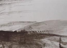 Ce détail d'un dessin de Victor Hugo représente la campagne vue par les yeux d'un rêveur : une plaine avec des collines au loin.