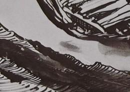 Ce détail d'un dessin de Victor Hugo représente une grève battue par les flots, près d'une forme sombre.
