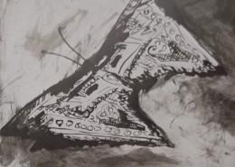 """Ce détail d'un dessin de Victor Hugo représente un de ces """"billets doux, devenus papillons"""", expression du printemps."""