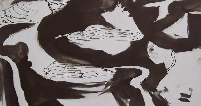 Ce détail d'un dessin de Victor Hugo représente, de manière abstraite, des formes sombres sur un fond clair.