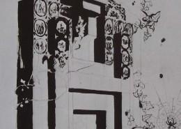 Ce détail d'un dessin de Victor Hugo représente le fronton de la cheminée de la salle à manger de Hauteville-House.