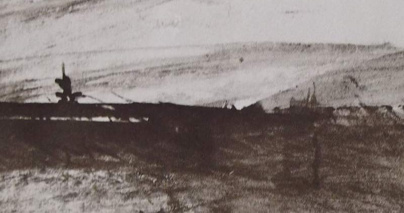 """Ce détail d'un dessin de Victor Hugo représente """"le clair midi qui surgit rayonnant"""" sur la campagne, juste avant une halte en marchant."""