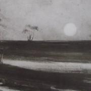 """Ce détail d'un dessin de Victor Hugo représente l'horizon qu'aperçoit """"un voyageur qui part de grand matin""""."""