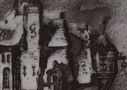 """Ce détail d'un dessin de Victor Hugo représente """"le toit d'une pauvre demeure"""", dans laquelle un couple vitupère."""